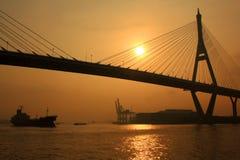 Bhumibol Bridge. In the sunrise, Thailand royalty free stock photo
