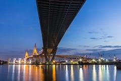 Bhumibol Bridge. The industrial ring bridge or mega bridge, at twilight in Thailand stock image