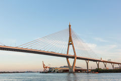 Bhumibol bridge above Chao praya river. Bhumibol bridge above Chao praya river in Bangkok,Thailand royalty free stock images