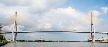 Bhumibol Bridge. Across the Chao Phraya River in Thailand Stock Image