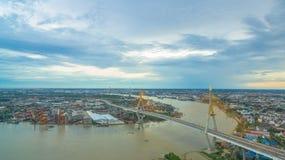 Bhumibol bridge across Cho Phraya river Royalty Free Stock Image