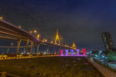 Bhumibol bridge across Cho Phraya river Royalty Free Stock Photography