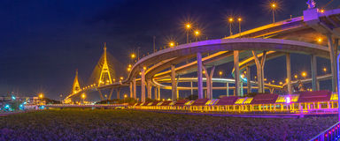 Bhumibol bridge across Cho Phraya river Stock Photos