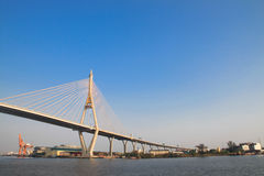 Bhumibol Bridge also casually call as Industrial Ring Road Bridg Royalty Free Stock Images