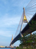 Bhumibol Bridge. Also casually call as Industrial Ring Road Bridge with canal and Chao Phraya River, Samut Prakarn,Thailand Royalty Free Stock Images