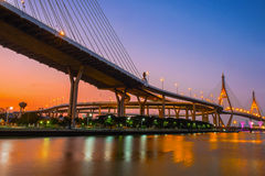 Bhumibol Bridge. The Bhumibol Bridge also known as the Industrial Ring Road Bridge Stock Photography