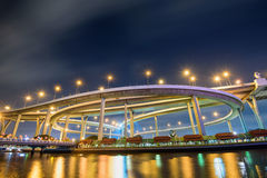 The Bhumibol Bridge also known as the Industrial Ring Road Brid Stock Photos