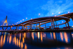 The Bhumibol Bridge also known as the Industrial Ring Road Bridg Royalty Free Stock Images