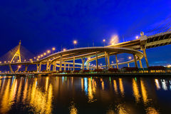 The Bhumibol Bridge also known as the Industrial Ring Road Bridg Royalty Free Stock Photos