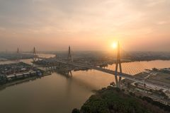 Bhumibol Bridge also known as the Industrial Ring Road Bridge is Stock Photography