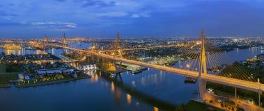 Bhumibol Bridge. The Bhumibol Bridge also known as the Industrial Ring Road Bridge, at twilight stock image