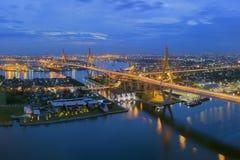 Bhumibol Bridge. The Bhumibol Bridge also known as the Industrial Ring Road Bridge, at twilight stock photo