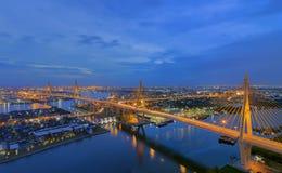 Bhumibol Bridge. The Bhumibol Bridge also known as the Industrial Ring Road Bridge, at twilight stock images