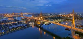 Bhumibol Bridge. The Bhumibol Bridge also known as the Industrial Ring Road Bridge, at twilight royalty free stock images