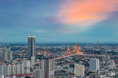The Bhumibol Bridge. Also known as the Industrial Ring Road Bridge, at twilight, Bangkok, Thailand Royalty Free Stock Photo