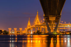 Bhumibol Bridge in Bangkok royalty free stock photo