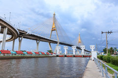 Bhumibol bridge in Bangkok Royalty Free Stock Photo