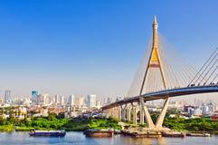 Bhumibol bridge , bangkok, thailand. Bhumibol bridge above chaopraya river ,bangkok ,thailand Royalty Free Stock Image