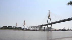 Bhumibol Bridge. Bangkok thailand Bhumibol 1 Bridge stock video footage