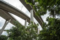 The Bhumibol bridge. This beautiful Bhumibol bridge is located in the capital of Thailand stock photo