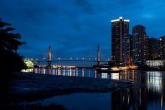 The Bhumibol bridge. This beautiful Bhumibol bridge is located in the capital of Thailand royalty free stock photo