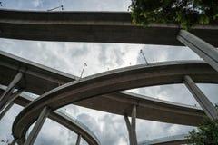 The Bhumibol bridge. This beautiful Bhumibol bridge is located in the capital of Thailand stock photography