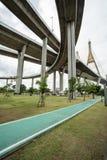 The Bhumibol bridge. This beautiful Bhumibol bridge is located in the capital of Thailand stock images