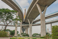 Bhumibol Bridge or Bridge of Industrial Rings is concrete highway overpass and cross the Chao Phraya River, Thailand. Foreign text on the bridge is the name ` royalty free stock photography