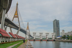 Bhumibol Bridge or Bridge of Industrial Rings is concrete highway overpass and cross the Chao Phraya River, Thailand. Foreign text on the bridge is the name ` royalty free stock photo