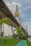 Bhumibol Bridge or Bridge of Industrial Rings is concrete highway overpass and cross the Chao Phraya River, Thailand. Foreign text on the bridge is the name ` stock image
