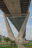 Bhumibol Bridge or Bridge of Industrial Rings is concrete highway overpass and cross the Chao Phraya River, Thailand. Foreign text on the bridge is the name ` royalty free stock photos
