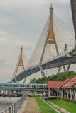 Bhumibol Bridge or Bridge of Industrial Rings is concrete highway overpass and cross the Chao Phraya River, Thailand. Foreign text on the bridge is the name ` stock photos