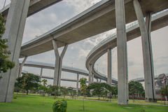 Bhumibol Bridge or Bridge of Industrial Rings is concrete highway overpass and cross the Chao Phraya River, Thailand. Foreign text on the bridge is the name ` Royalty Free Stock Image