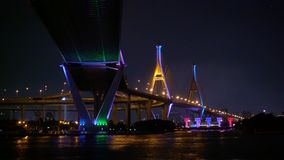 Bhumibol Bridge crosses the Chao Phraya River. In Thailand stock footage