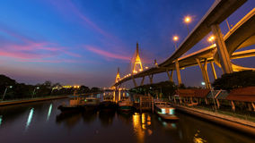 Bhumibol Bridge at dawn in Bangkok Royalty Free Stock Image
