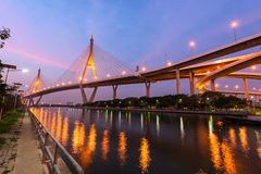 Bhumibol Bridge at dawn in Bangkok Stock Photos