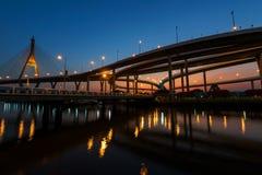 Bhumibol Bridge at dusk in Bangkok Royalty Free Stock Photos