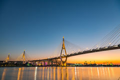 Bhumibol Bridge at dusk Royalty Free Stock Photography