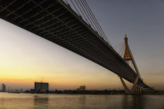 The Bhumibol Bridge at dusk in Thailand Royalty Free Stock Photography