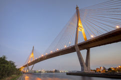 Bhumibol Bridge in evening, Thailand Stock Photo