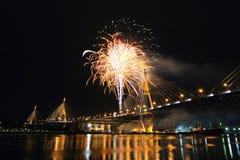 Bhumibol Bridge and Fireworks on around Royalty Free Stock Image