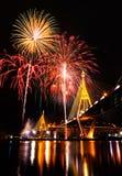Bhumibol Bridge with fireworks Royalty Free Stock Image