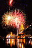 Bhumibol Bridge with fireworks Stock Photo