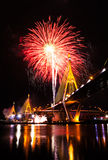 Bhumibol Bridge with fireworks Stock Photos