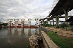 Bhumibol bridge and floodgate of Chao Phraya river in Bangkok Stock Images