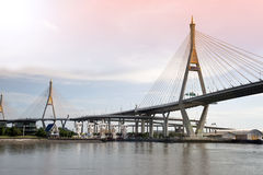 Bhumibol bridge the industrial ring bridge or mega bridge. Royalty Free Stock Photography