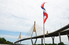 Bhumibol Bridge or Industrial Ring Road Royalty Free Stock Photo