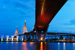 Bhumibol Bridge (the Industrial Ring Road Bridge) Royalty Free Stock Photo