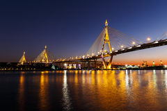Bhumibol Bridge or Industrial Ring Road bridge Stock Photography