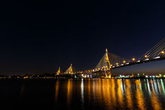 Bhumibol Bridge or Industrial Ring Road bridge Royalty Free Stock Images